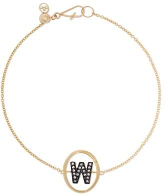 Annoushka 18kt yellow gold diamond initial W bracelet