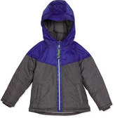 Armani Junior Hooded Two-Tone Puffer Coat, Gray, Size 4-12