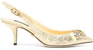 Dolce & Gabbana Jacquard Embellished Low-Heel Pumps