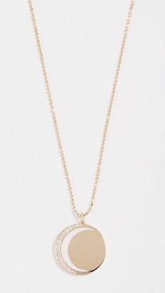 Ef Collection 14k Diamond & Enamel Crescent Moon Necklace