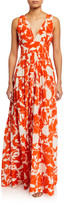 Oscar de la Renta Leaf Print Silk Day Dress