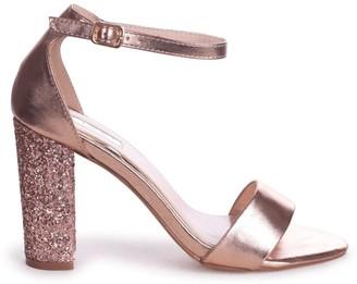 Linzi KORI - Rose Gold Barely There With Glitter Block Heel