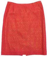 Cynthia Steffe Coral & Green Floral Crochet Skirt