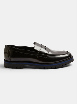 Topman Black Leather Loafers with Blue Sole