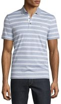 Michael Kors Bold Bar-Striped Short-Sleeve Polo Shirt, Heather Gray
