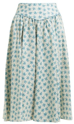 Batsheva Floral-print Cotton Knee-length Skirt - Womens - Cream Multi