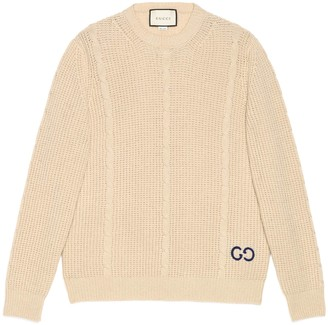 Gucci Cable knit wool sweater with GG