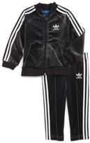 adidas Infant Girl's Velour Jacket & Sweatpants
