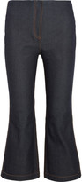 McQ by Alexander McQueen Cropped High-rise Bootcut Jeans - Dark denim