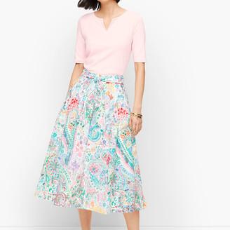 Talbots Festive Floral Pleated Maxi Skirt
