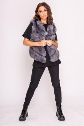 Hachu Grey Faux Fur Gilet