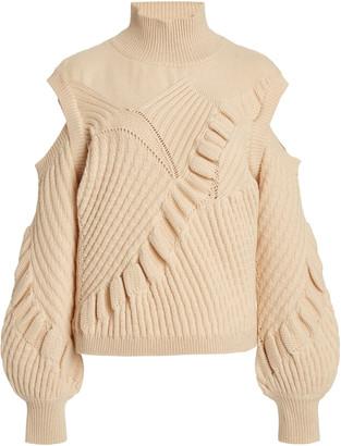 Alexis Velli Cold-Shoulder Knit Mock-Neck Sweater
