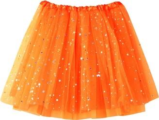 Beetlenew Womens Dress Women Tutu Skirts Sequin Tulle Ballet Skirt Sparkling Dancing Dress-Up Skirt Casual Mini Skirt Fancy Party Dress Adult Mesh Dancewear Petticoat Underskirt Princess Short Skirt (One Size