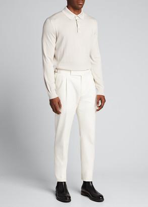 Ermenegildo Zegna Men's Long-Sleeve Cashmere-Silk Polo Shirt