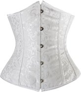 Corset-fans Floral Pattern Waist Training Underbust Corset Lace up Boned Body Shapewear with G-String XL