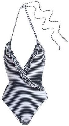 Solid & Striped The Nadine Ruffle-trimmed Striped Seersucker Halterneck Swimsuit