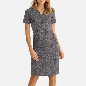 Anne Weyburn Knee-Length Shift Dress in Stretch Satin