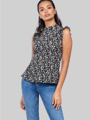 M&Co Izabel floral ruffle neck top
