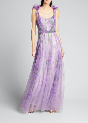 Marchesa Watercolor Printed Tulle Gown with Draped Bodice