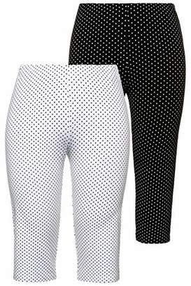 Ulla Popken Women's Plus Size 2 Pack of Leggings - Polka Dot 36/38 723968 10-62+
