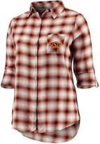 Unbranded Women's Plus Size Concepts Sport Black/Orange Oklahoma State Cowboys Forge Rayon Flannel Long Sleeve Button-Up Shirt
