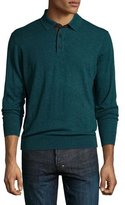 Neiman Marcus Cashmere Long-Sleeve Polo Sweater, Emerald