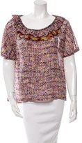 Suno Silk Abstract Print Top