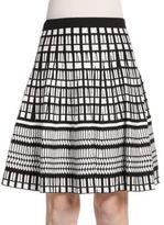 Saks Fifth Avenue BLACK Flared Geo-Pattern Knit Skirt