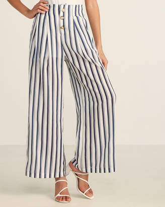 Flying Tomato Ivory & Blue Striped Button Front Pants