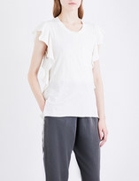 NSF Makayla ruffled-sleeve cotton-jersey T-shirt