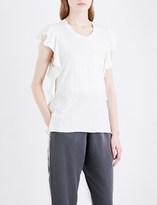 NSF Makayla ruffled-sleeve cotton-jersey T-shirt