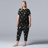 Vera Wang Women's Plus Size Simply Vera Short Sleeve Top & Cropped Jogger Pajama Set