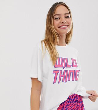 Asos DESIGN Petite wild thing zebra pyjama set-Multi