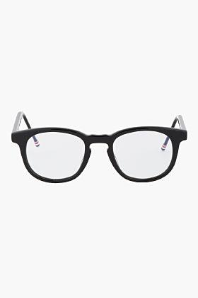 Thom Browne Black Polished Round Optical Glasses
