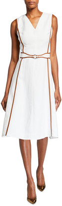 Ralph Lauren Channing Leather-Trim Belted Day Dress
