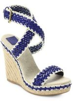 Tory Burch Leather Blend Espadrille Wedge Sandals