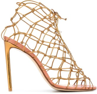 Francesco Russo Knot Net Stiletto Sandals
