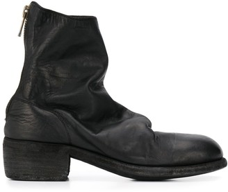 Guidi cracked-effect ankle boots