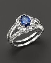 Bloomingdale's Sapphire and Diamond Oval Ring in 14K White Gold
