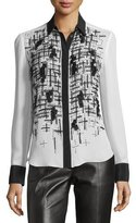 Prabal Gurung Embroidered-Front Two-Tone Blouse, Ivory/Black