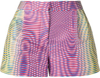 Mary Katrantzou Zeta optic moire print shorts
