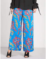 Etro Floral-print wide high-rise silk-crepe palazzo trousers