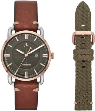 Eleven Paris One Women's SW1 Solar Quartz Two-Tone Stainless Steel and Leather Casual Watch Color: Silver/Rose Gold Brown (Model: CBOE5001)
