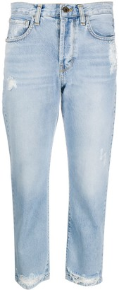 Merci Ripped Straight-Leg Cropped Jeans
