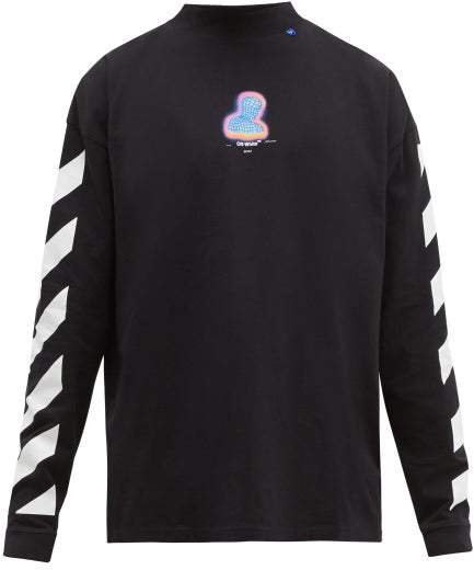 Off-White Off White Thermo Man Logo Print Cotton Jersey T Shirt - Mens - Black Multi