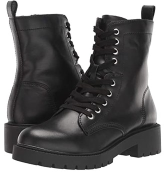 Steve Madden Guided Combat Boot (Black Leather) Women's Boots