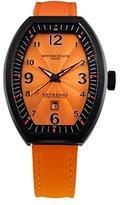Montres de Luxe Women's EXL 8302 Estremo Lady Black PVD Orange Sunray Dial Leather Luminous Date Watch