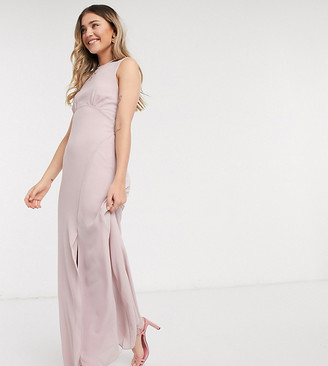 TFNC Petite bridesmaid cowl back maxi dress in pink