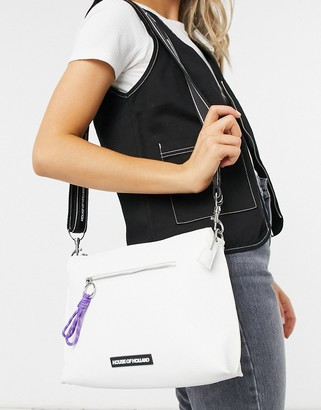 House of Holland crossbody with cord zip detail in white