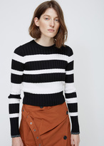 Proenza Schouler black / off white striped ribbed knit